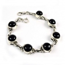 Party Wear Black Onyx Gemstone Sterling Silver Bracelet Sterling Silver Fashion Jewellery