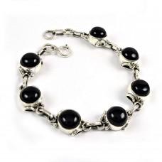 Party Wear Black Onyx Gemstone Sterling Silver Bracelet Sterling Silver Fashion Jewellery