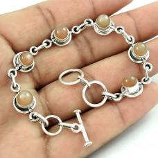 Graceful Moon Stone Gemstone Sterling Silver Bracelet 925 Silver Jewellery