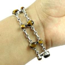 Stunning Tiger Eye Gemstone Sterling Silver Bracelet 925 Silver Jewellery
