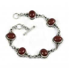 Lustrous Carnelian Gemstone Sterling Silver Bracelet 925 Sterling Silver Fashion Jewellery