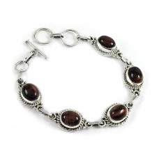 Stylish Red Tiger Eye Gemstone Sterling Silver Bracelet 925 Sterling Silver Jewellery