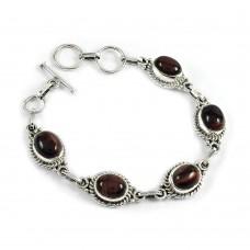 Stylish Red Tiger Eye Gemstone Sterling Silver Bracelet 925 Sterling Silver Jewellery