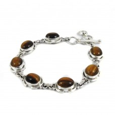 Perfect!! 925 Sterling Silver Tiger Eye Bracelet