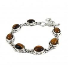 Perfect!! 925 Sterling Silver Tiger Eye Bracelet