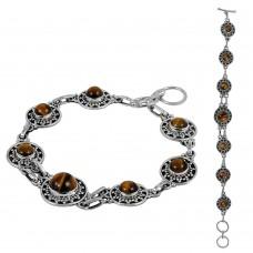 Large Fashion Tiger Eye Gemstone Sterling Silver Bracelet Jewelry