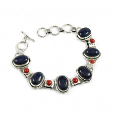 Possessing Good Fortune Lapis, Coral Gemstone Sterling Silver Bracelet 925 Sterling Silver Indian Jewellery