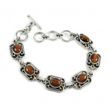 Seemly Tiger Eye Gemstone Sterling Silver Bracelet 925 Silver Jewellery