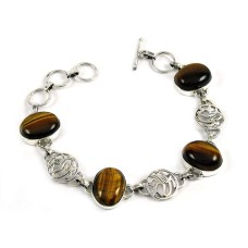 Well-Favoured Tiger Eye Gemstone Sterling Silver Bracelet 925 Sterling Silver Jewellery