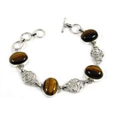 Well-Favoured Tiger Eye Gemstone Sterling Silver Bracelet 925 Sterling Silver Jewellery