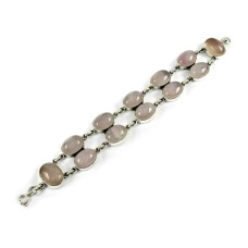 Amusable Rose Quartz Gemstone Sterling Silver Bracelet 925 Sterling Silver Jewellery