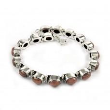 Excellent Rhodochrosite Gemstone Sterling Silver Bracelet 925 Sterling Silver Vintage Jewellery