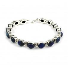Beautiful Lapis Gemstone Sterling Silver Bracelet 925 Silver Jewellery