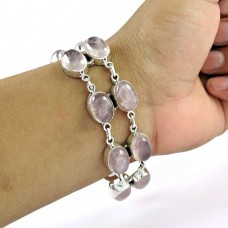 Rare Rose Quartz Gemstone Sterling Silver Bracelet 925 Sterling Silver Fashion Jewellery