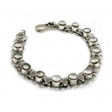 Charming Mother of Pearl Sterling Silver Bracelet 925 Sterling Silver Vintage Jewellery