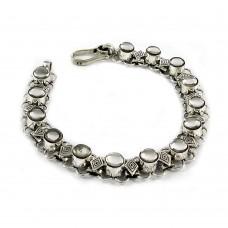 Charming Mother of Pearl Sterling Silver Bracelet 925 Sterling Silver Vintage Jewellery