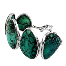 Big Royal !! Tibetan Turquoise 925 Sterling Silver Bracelet