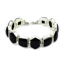 Designer Black Onyx Gemstone Sterling Silver Bracelet 925 Sterling Silver Indian Jewellery