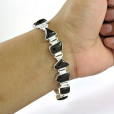 Graceful Smoky Quartz Gemstone Sterling Silver Bracelet 925 Silver Jewellery