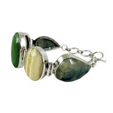 Big Special Moment !! Green Aventurine, Jasper 925 Sterling Silver Bracelet