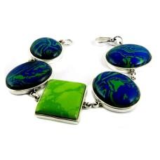 Big Secret Design !! Mohave, Green Copper Turquoise 925 Sterling Silver Bracelet