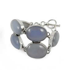 Party Wear Chalcedony Gemstone Sterling Silver Bracelet Jewelry