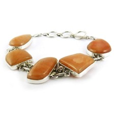 Sterling Silver Fashion Jewelry Ethnic Aventurine Gemstone Bracelet