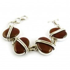 Awesome Style Of!! 925 Silver Red Jasper Bracelet