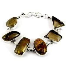 Victorian Style !! Picture Jasper, Green Rutile 925 Sterling Silver Bracelet