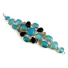Love At First Sight Light !! Chalcedony, Black Onyx, Rose Quartz 925 Sterling Silver Bracelet