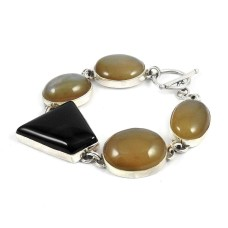 Traditional Multi Stone Gemstone Sterling Silver Bracelet Jewelry