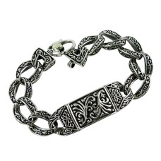 Beautiful 925 Sterling Silver Mother Of Pearl Bracelet Ethnic Jewellery