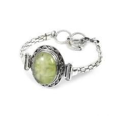 Good Looking Prehnite Gemstone Sterling Silver Bracelet Jewelry