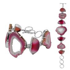 Faceted Drusy, Striped Onyx Gemstone Sterling Silver Bracelet Jewelry