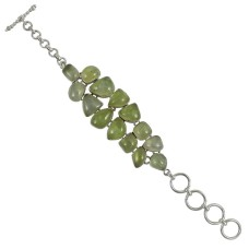 Ornate Prehnite Gemstone Sterling Silver Bracelet Jewelry
