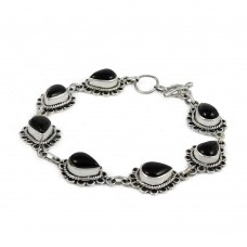 925 gemstone silver jewelry Beautiful Black Onyx Gemstone Bracelet