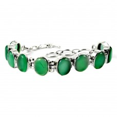 Gorgeous Design !! Green Onyx 925 Sterling Silver Bracelet