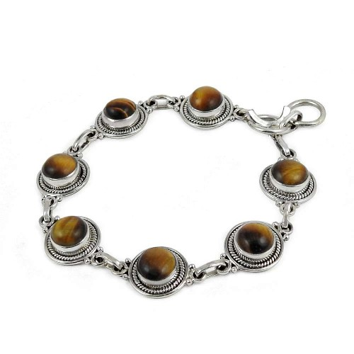 Engaging Tiger Eye Gemstone Sterling Silver Bracelet Jewelry