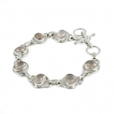 Gorgeous Rose Quartz Gemstone Sterling Silver Bracelet Jewelry