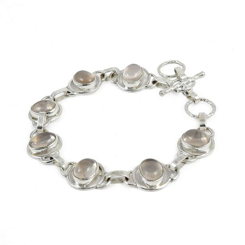 Gorgeous Rose Quartz Gemstone Sterling Silver Bracelet Jewelry