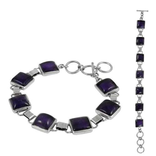Intrigant Amethyst Gemstone Sterling Silver Bracelet Jewelry