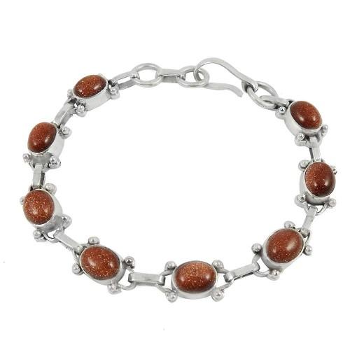 Large Stunning Brown Sunstone Gemstone Sterling Silver Bracelet Jewelry