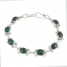 New Design Green Onyx Gemstone Sterling Silver Bracelet Jewelry