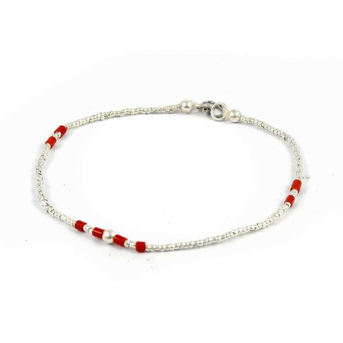 Fantastic!! 925 Sterling Silver Coral Beaded Bracelet