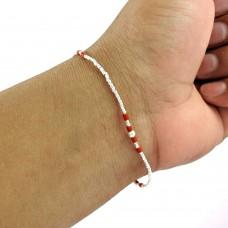 Paradise Lantern!! 925 Sterling Silver Coral Beaded Bracelet