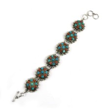 Scrumptious Coral & Turquoise Gemstone Sterling Silver Bracelet 925 Sterling Silver Jewellery