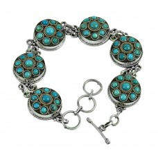 Lustrous Turquoise Gemstone Sterling Silver Bracelet 925 Sterling Silver Fashion Jewellery