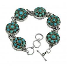 Lustrous Turquoise Gemstone Sterling Silver Bracelet 925 Sterling Silver Fashion Jewellery