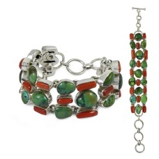 925 sterling silver fashion jewelry Rare Coral & Turquoise Gemstone Bracelet