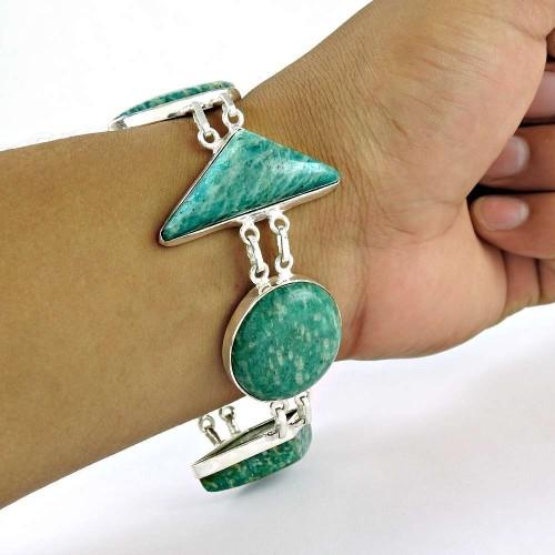 2018 Fashion Amazonite Gemstone Silver Bracelet Jewelry